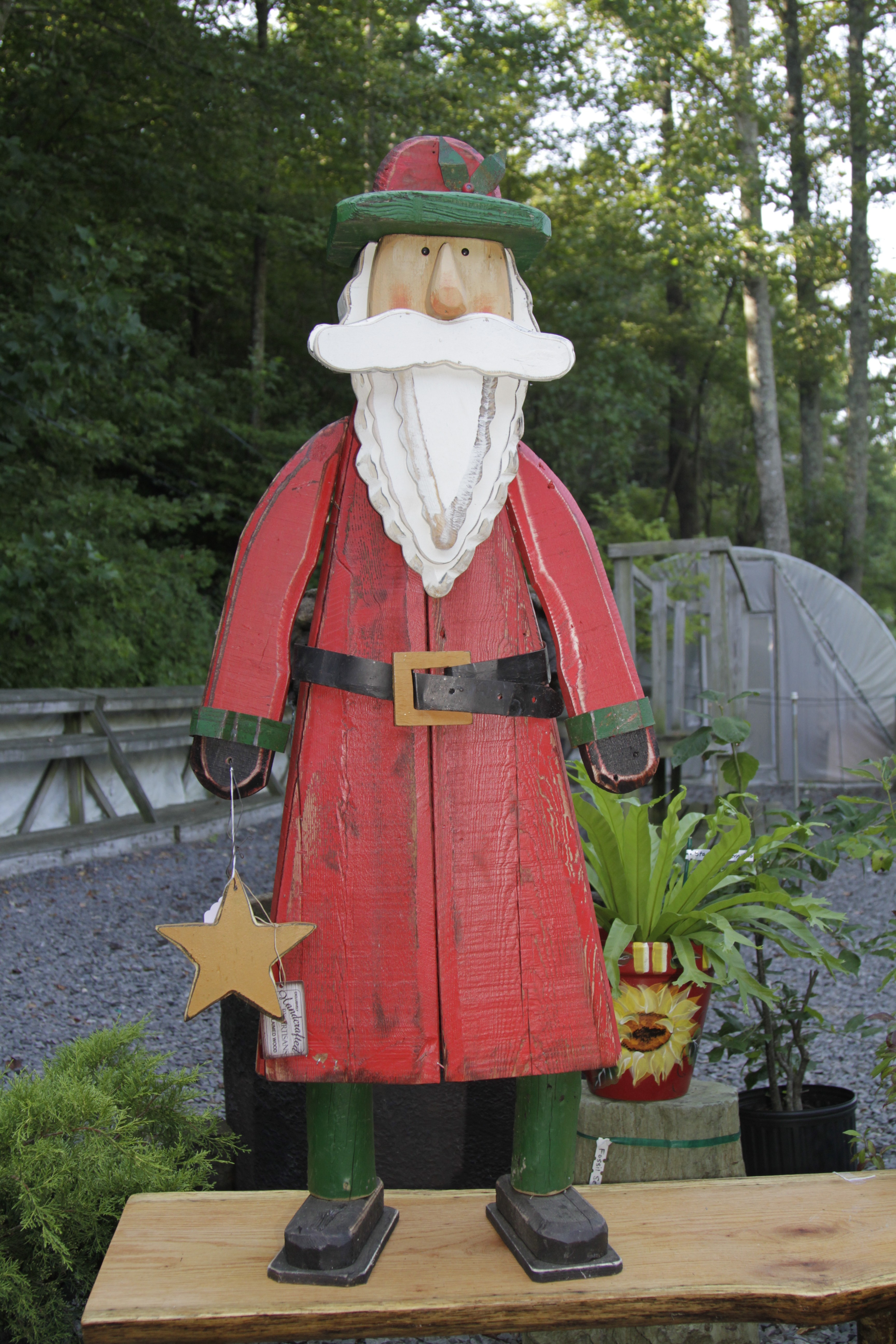 "TP 2815 Wood & tin 50"" Santa with wooden star"
