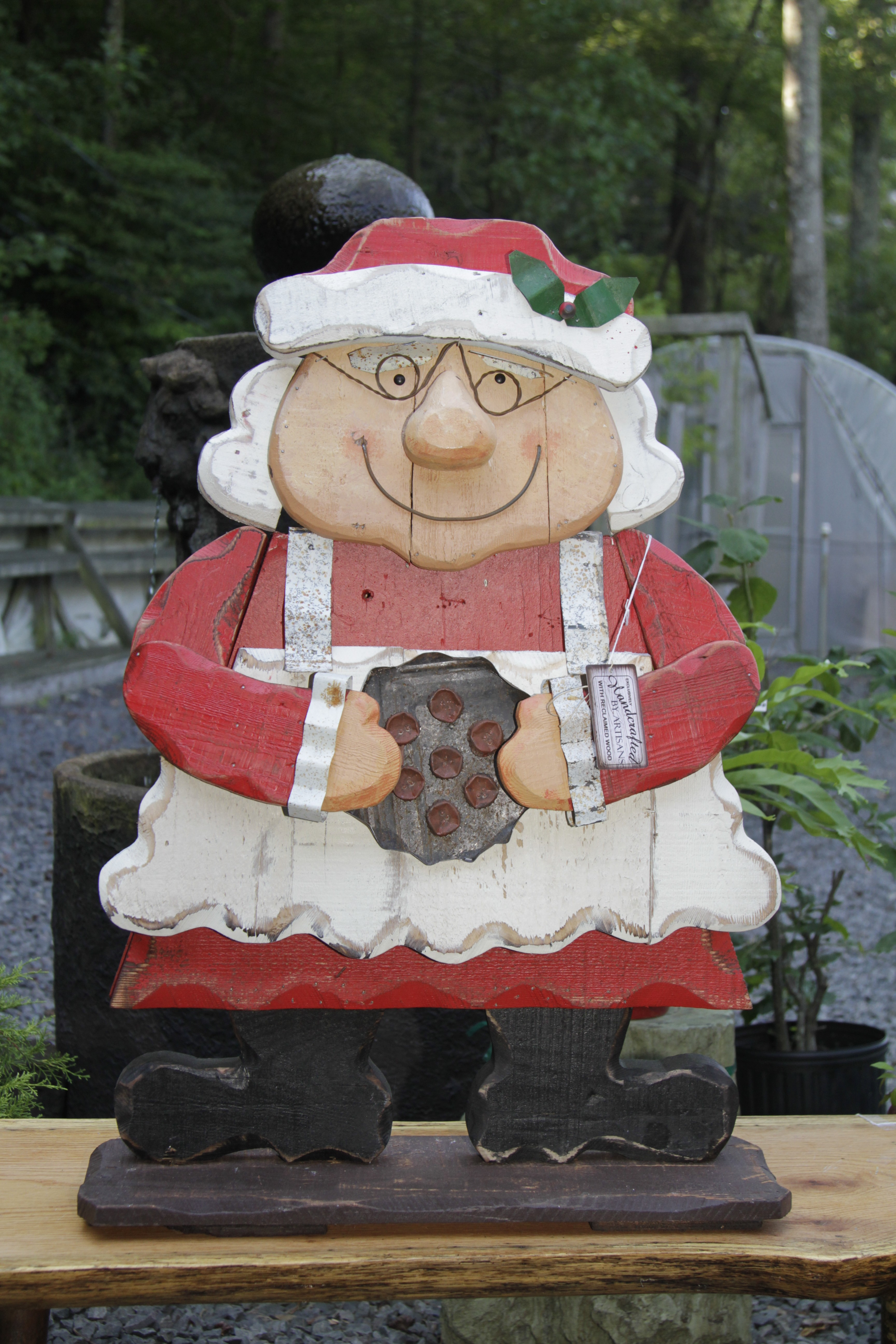 """TP 3267 Wood & tin 32.5"""" Mrs. Clause with glasses"""