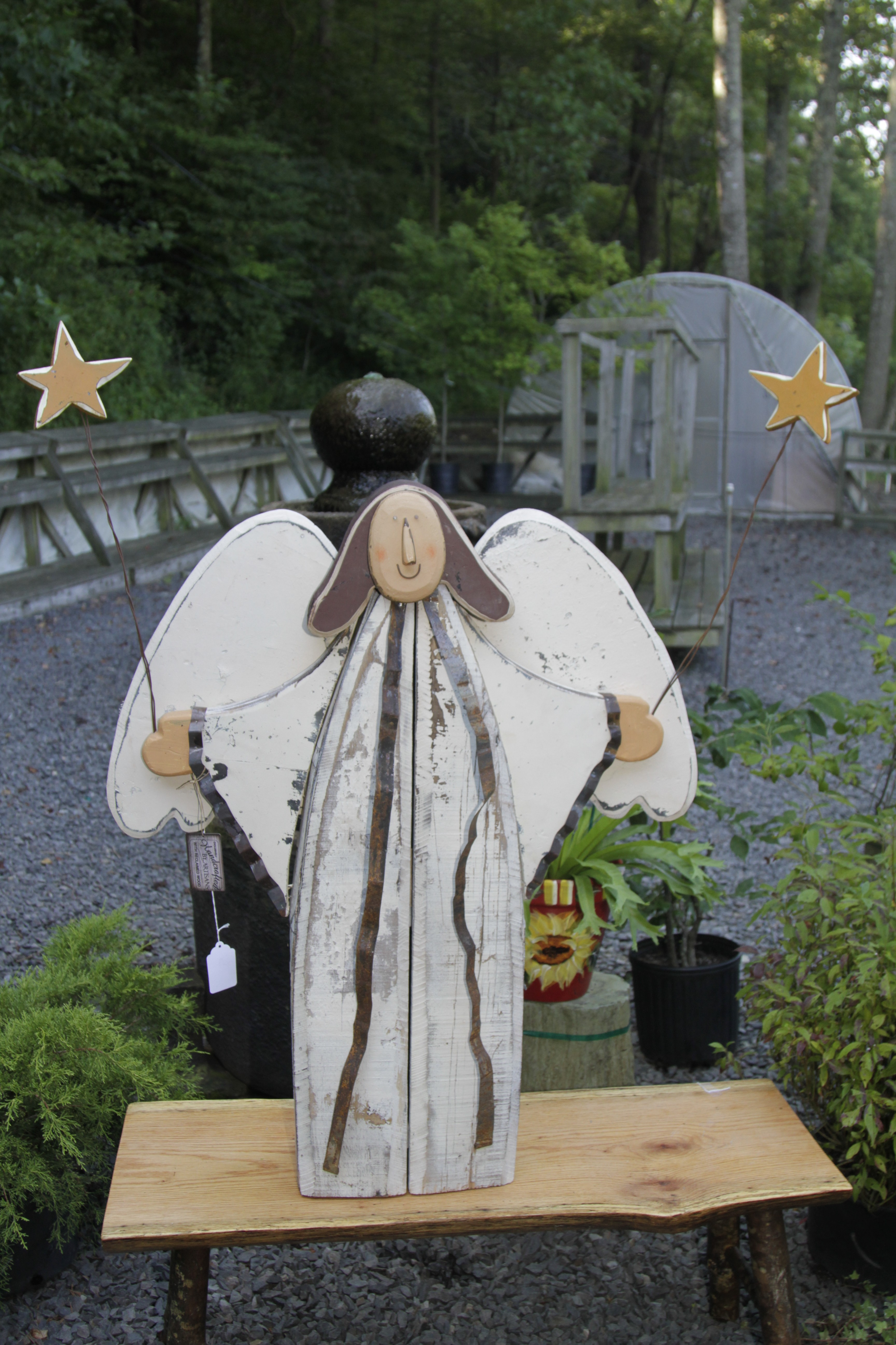 """TP 7791 Wood & tin 39"""" Angel with wooden stars"""